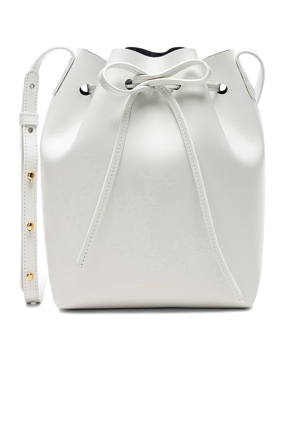 Image 1 of Mansur Gavriel Mini Bucket Bag in Blu Calf & White