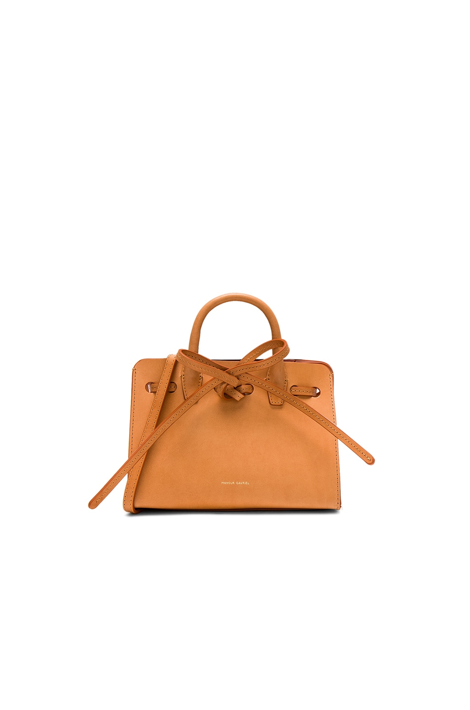 Image 1 of Mansur Gavriel Mini Mini Sun Bag in Cammello & Rosa Vegetable Tanned