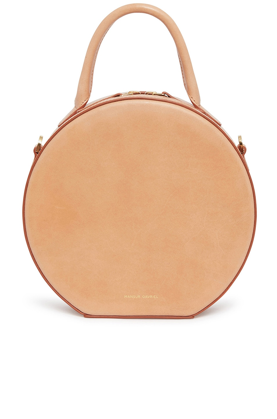 4e7eb9059 Image 1 of Mansur Gavriel Vegetable Tanned Circle Crossbody in Cammello
