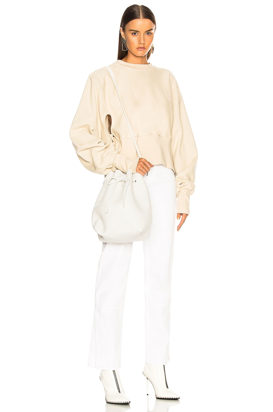 Image 2 of Mansur Gavriel Tumble Large Bucket Bag in White