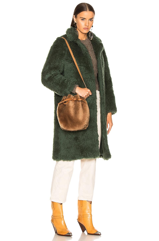 Image 2 of Mansur Gavriel Shearling Mini Bucket Bag in Camel
