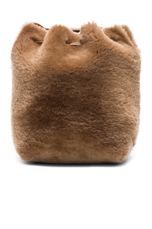 Image 3 of Mansur Gavriel Shearling Mini Bucket Bag in Camel