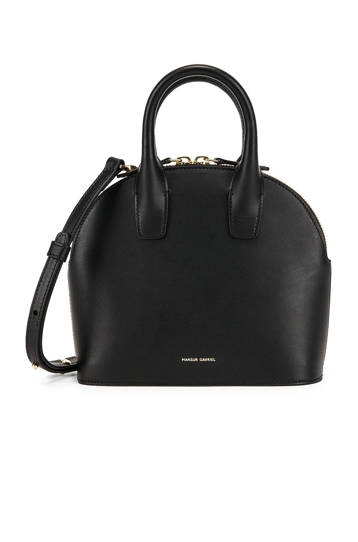 Image 1 of Mansur Gavriel Mini Top Handle Bag in Black & Flamma
