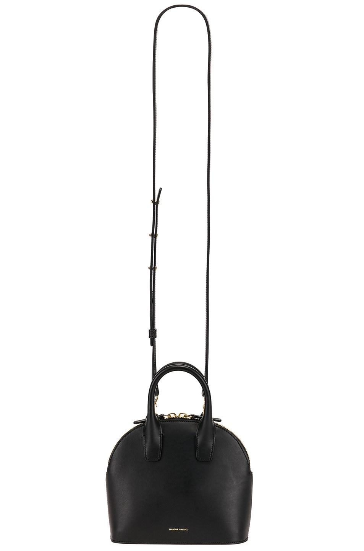 Image 6 of Mansur Gavriel Mini Top Handle Bag in Black & Flamma