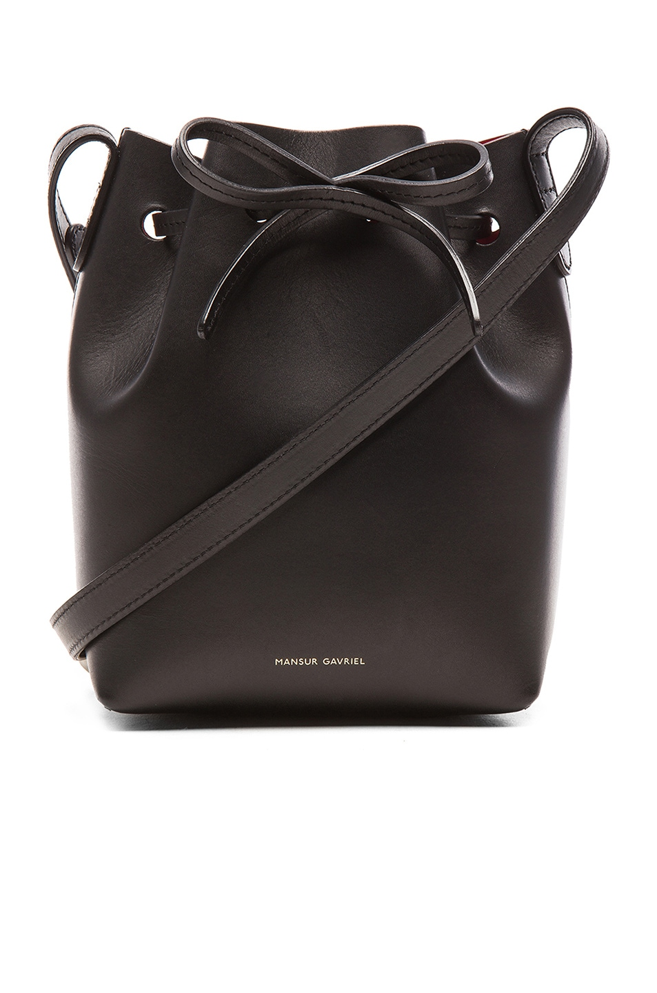 Image 1 of Mansur Gavriel Mini Mini Bucket Bag in Black & Flamma