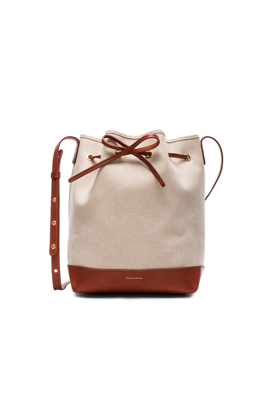 Image 1 Of Mansur Gavriel Canvas Bucket Bag In Creme Brandy