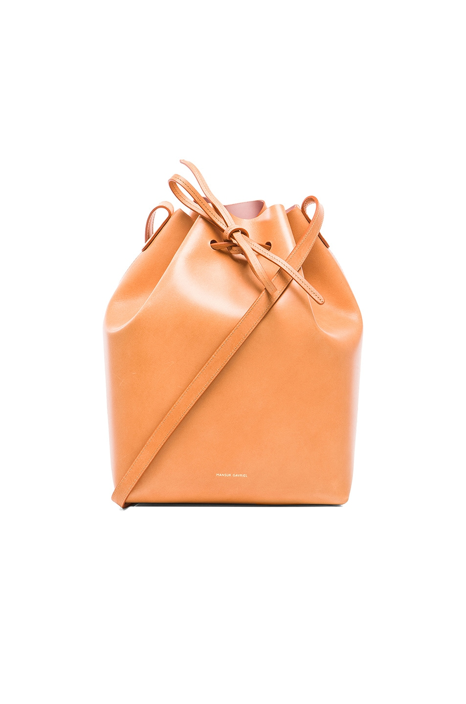 Image 1 of Mansur Gavriel Coated Large Bucket Bag in Cammello & Rosa