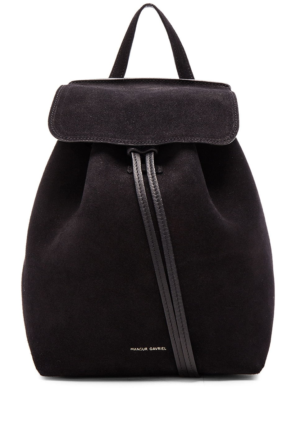 Image 1 of Mansur Gavriel Mini Backpack in Black Suede