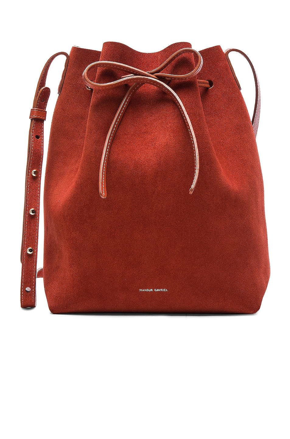 Image 1 of Mansur Gavriel Bucket Bag in Brick Suede