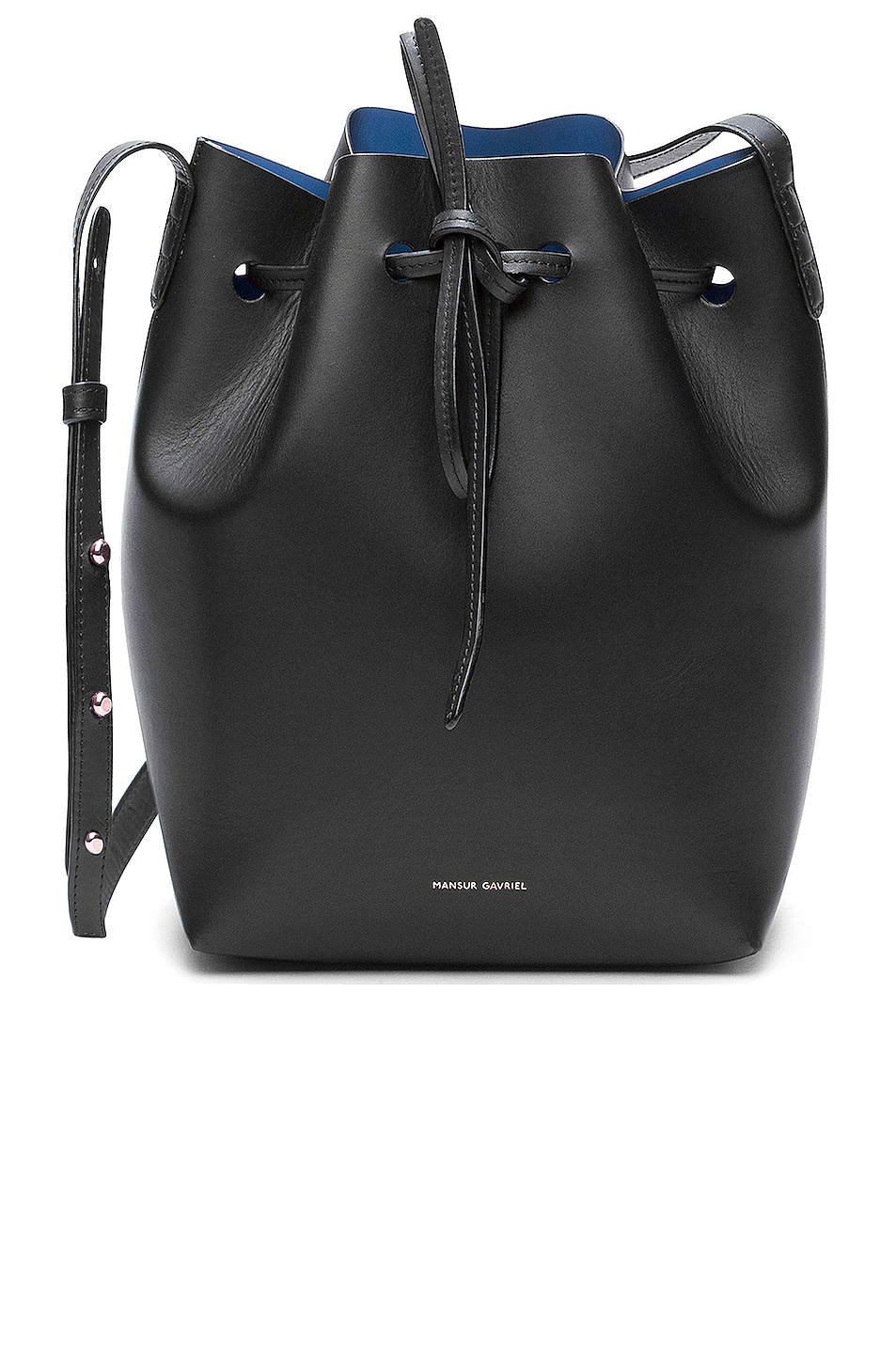 Image 1 of Mansur Gavriel Coated Mini Bucket Bag in Black & Royal