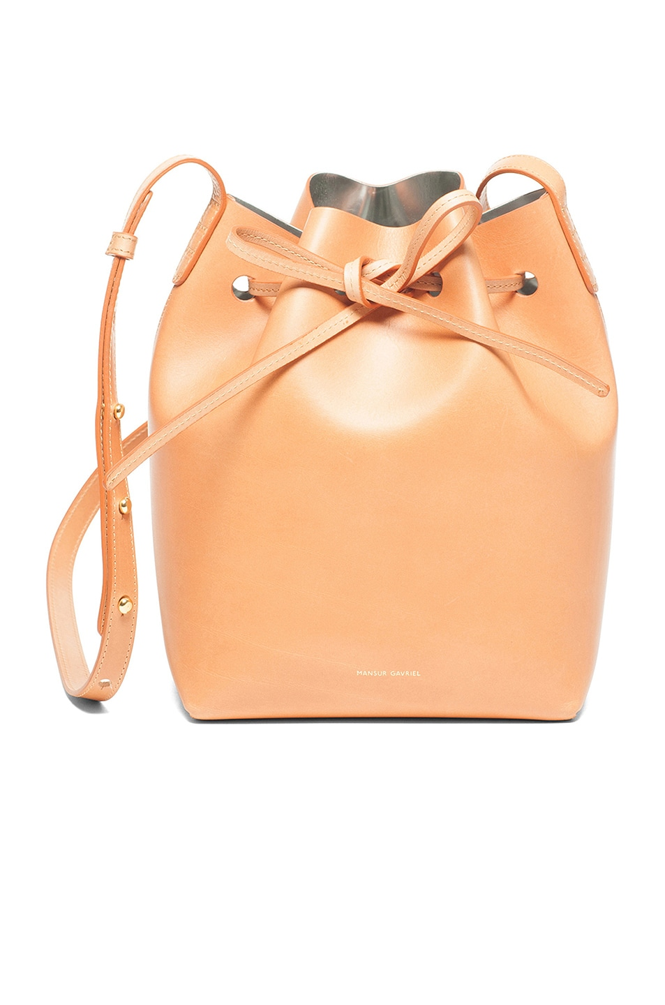Image 1 of Mansur Gavriel Mini Bucket Bag in Cammello & Silver