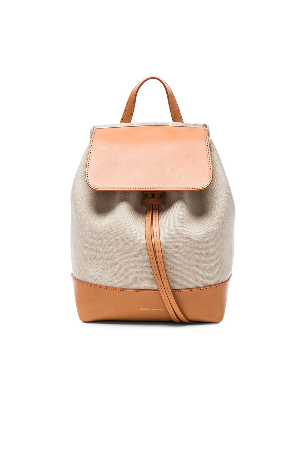 Image 1 of Mansur Gavriel Canvas Mini Backpack in Creme & Cammello