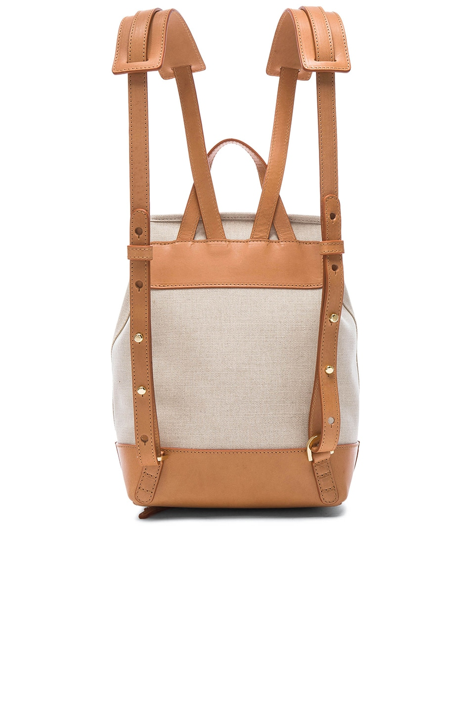 Image 2 of Mansur Gavriel Canvas Mini Backpack in Creme & Cammello