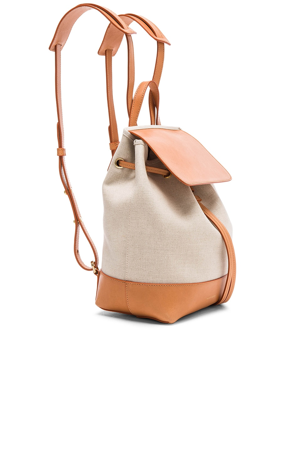 Image 3 of Mansur Gavriel Canvas Mini Backpack in Creme & Cammello