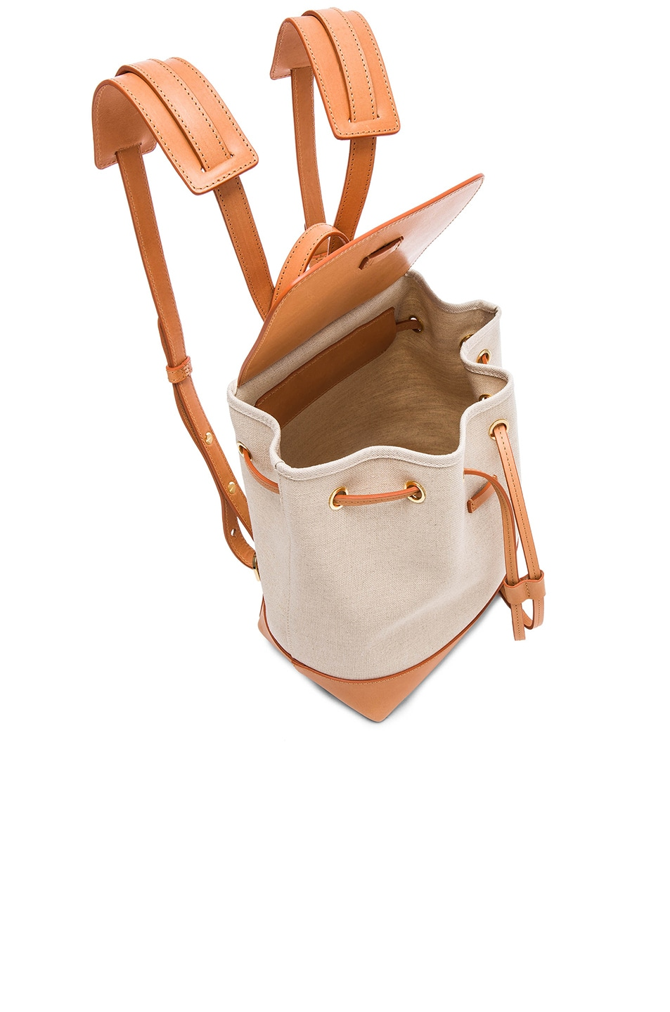 Image 4 of Mansur Gavriel Canvas Mini Backpack in Creme & Cammello
