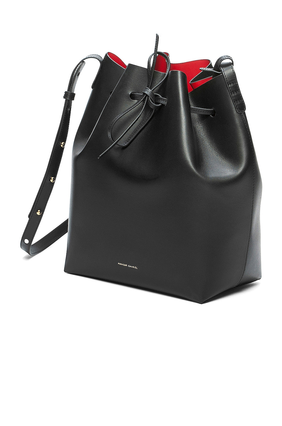 Image 3 of Mansur Gavriel Coated Large Bucket Bag in Black & Flamma