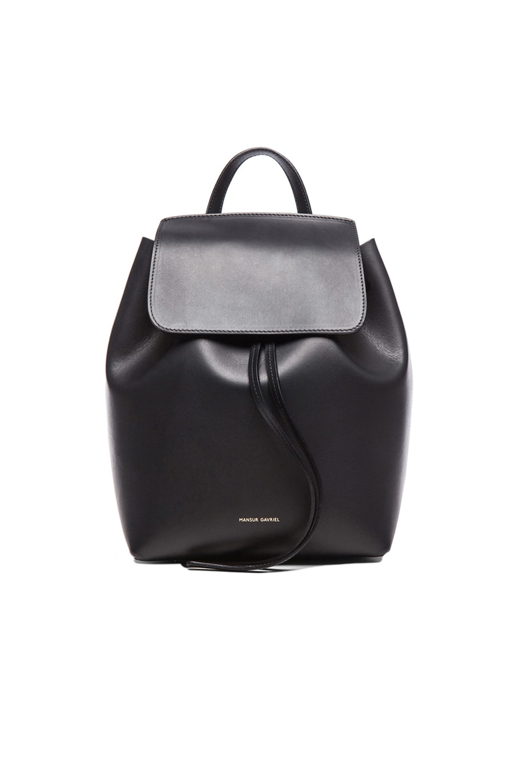 Image 1 of Mansur Gavriel Coated Mini Backpack in Black