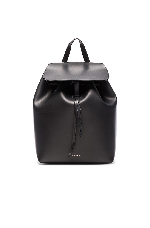 Image 1 of Mansur Gavriel Vegetable Tanned Backpack in Black & Flamma