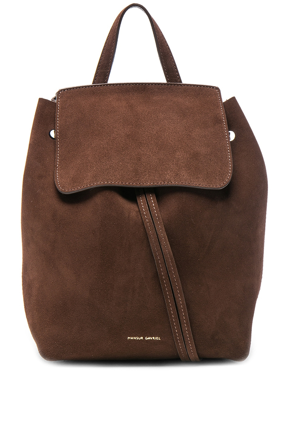 Image 1 of Mansur Gavriel Mini Backpack in Chocolate Suede