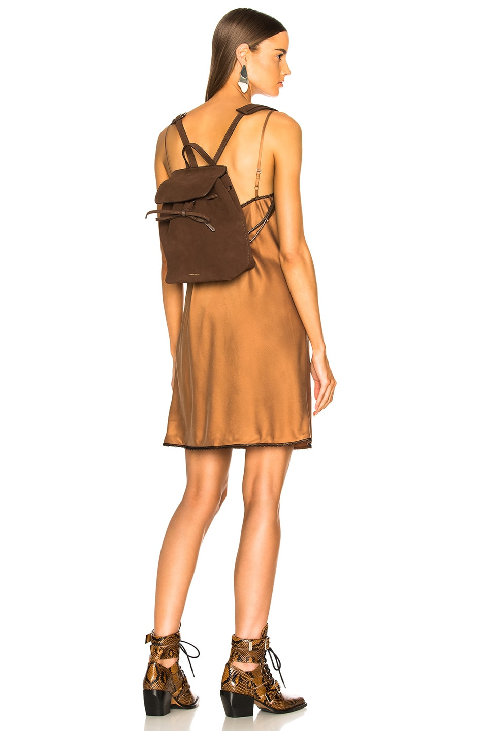 Image 2 of Mansur Gavriel Mini Backpack in Chocolate Suede