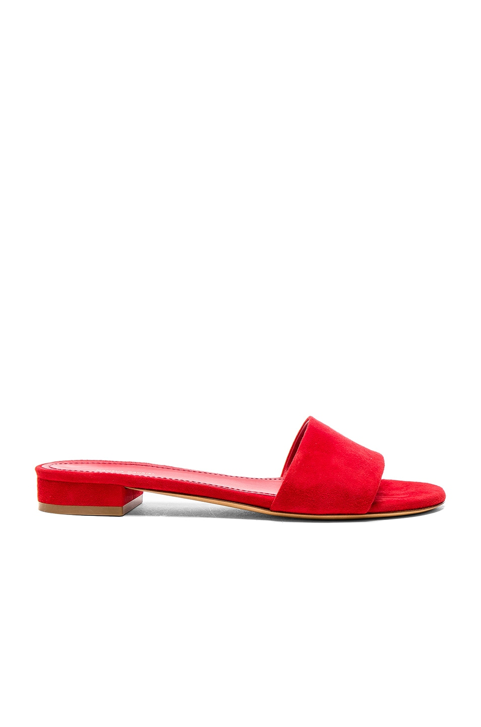 Image 1 of Mansur Gavriel Single Strap Suede Sandals in Flamma