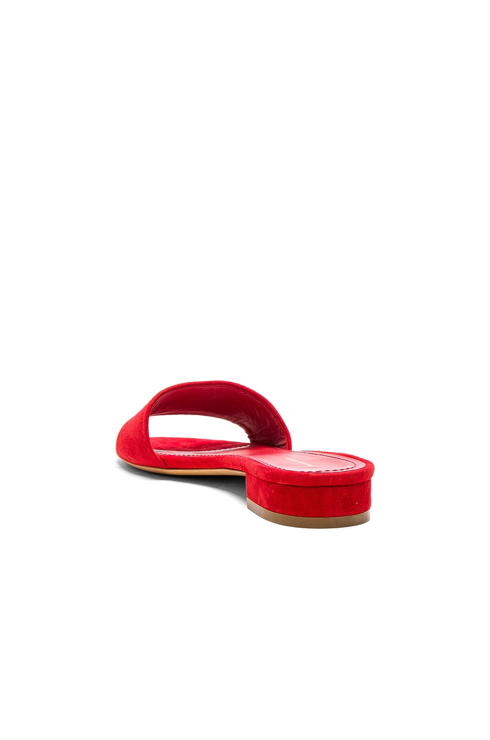 Image 3 of Mansur Gavriel Single Strap Suede Sandals in Flamma