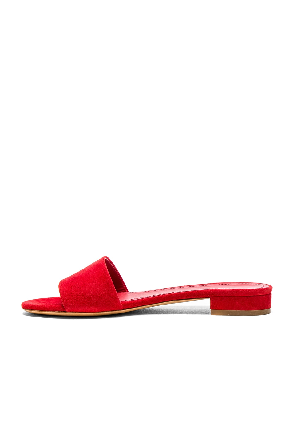 Image 5 of Mansur Gavriel Single Strap Suede Sandals in Flamma