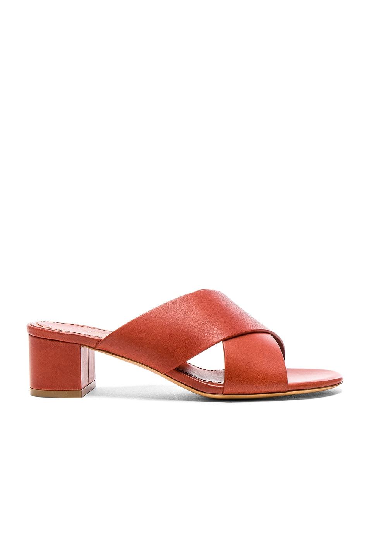 Image 1 of Mansur Gavriel Leather 40mm X Strap Heels in Brandy Vegetable Tanned