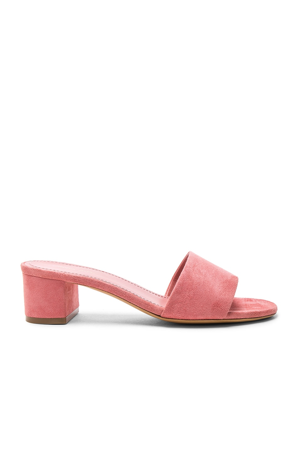 Image 1 of Mansur Gavriel Suede Single Strap Heels in Blush Suede
