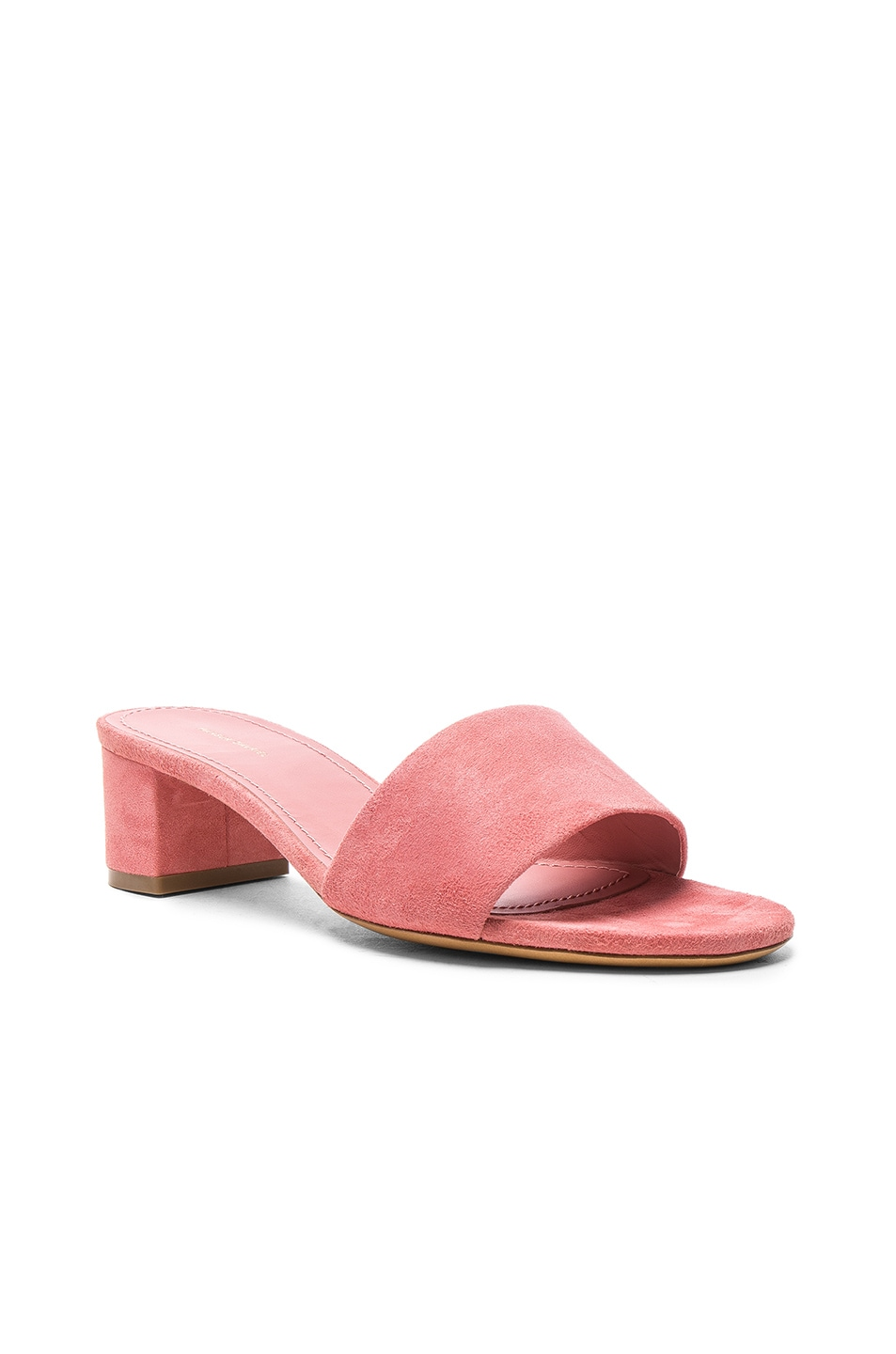 Image 2 of Mansur Gavriel Suede Single Strap Heels in Blush Suede