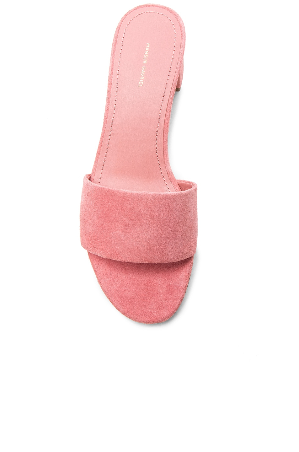 Image 4 of Mansur Gavriel Suede Single Strap Heels in Blush Suede