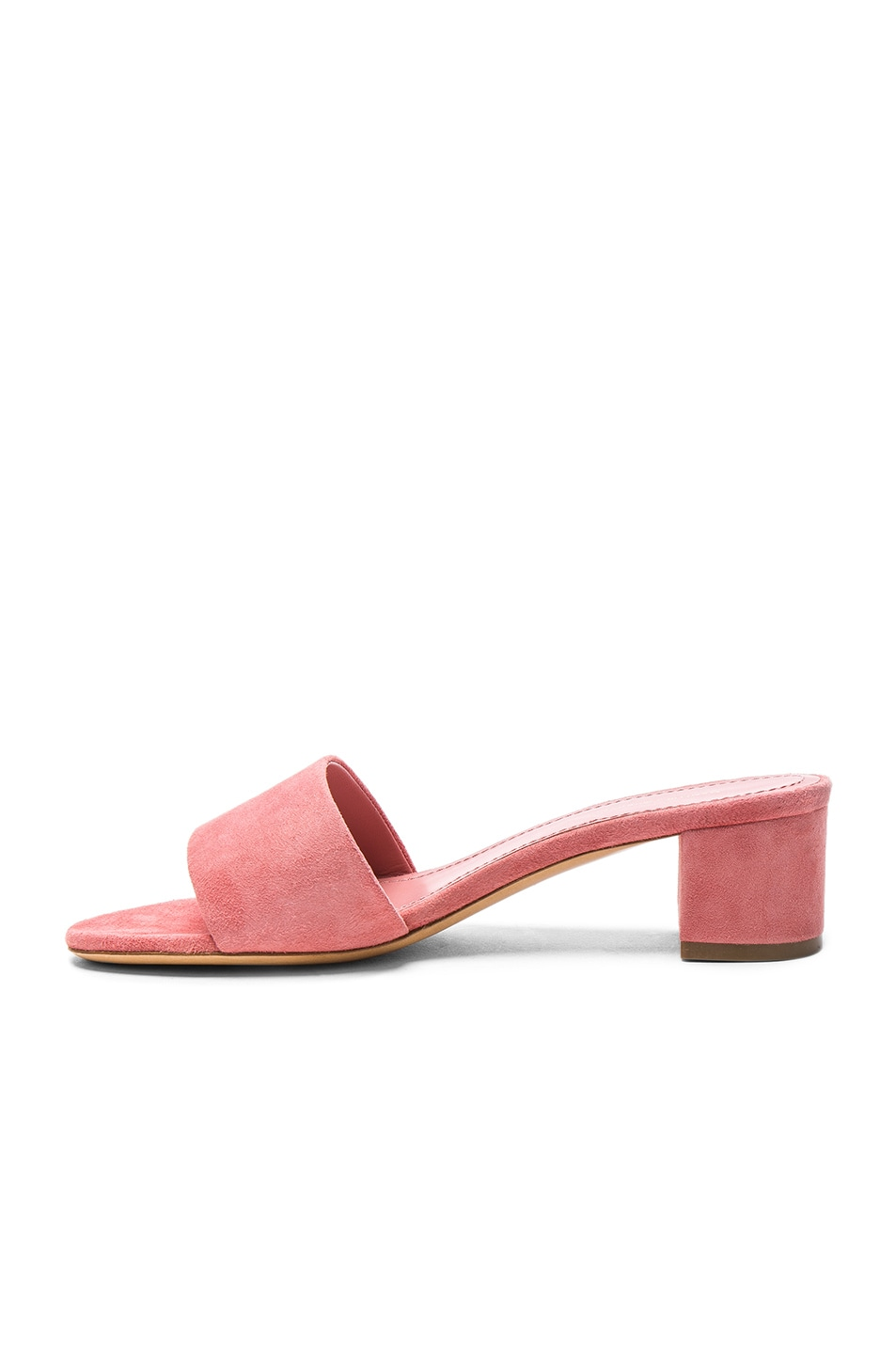 Image 5 of Mansur Gavriel Suede Single Strap Heels in Blush Suede