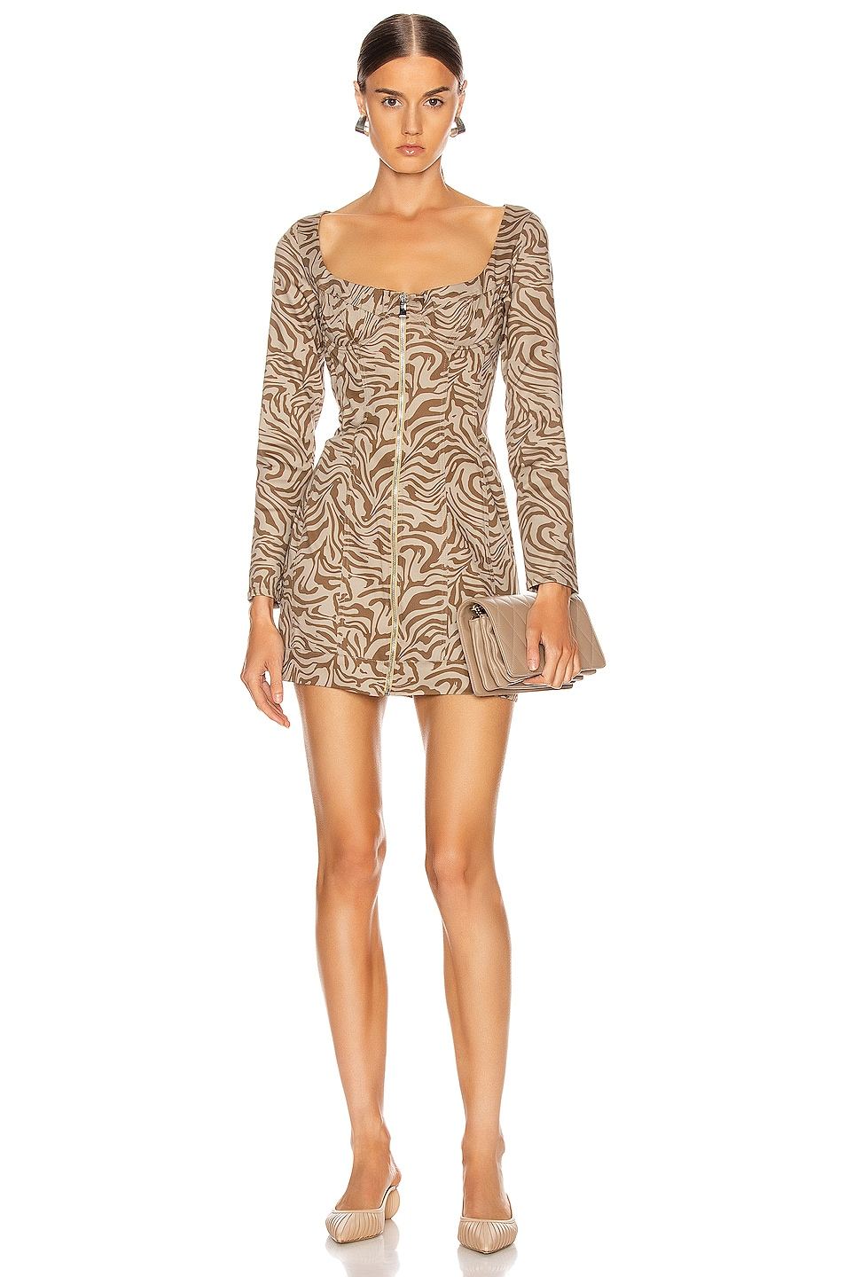 Image 1 of Miaou Dree Dress in Tan Zebra
