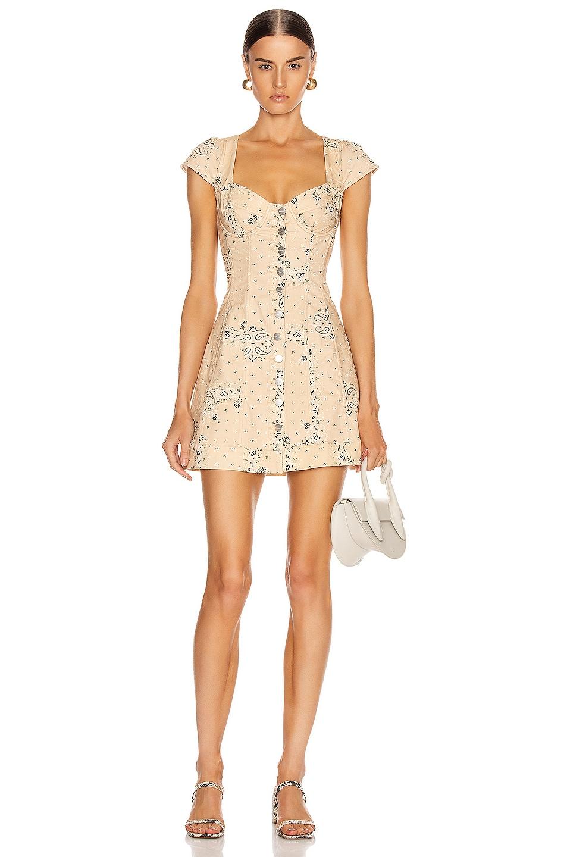 Image 1 of Miaou Gigi Dress in Beige Bandana Print