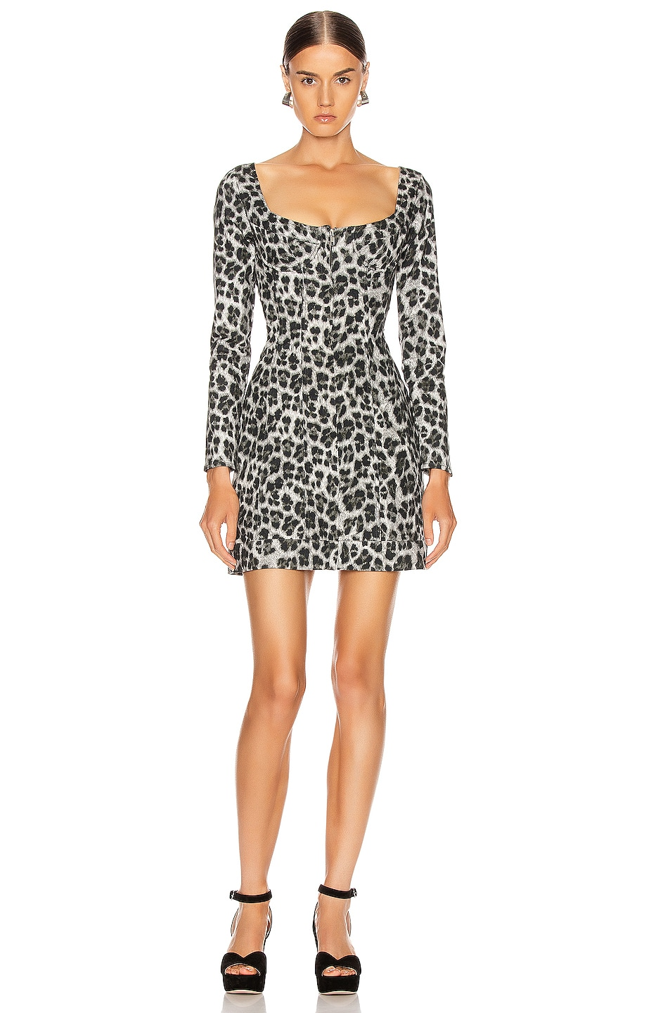 Image 1 of Miaou Dree Dress in Grey Leopard