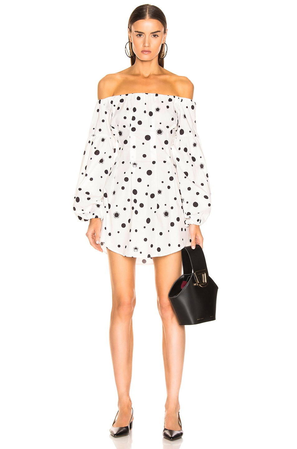 Image 1 of Miaou Heidi Dress in White Polka Dot