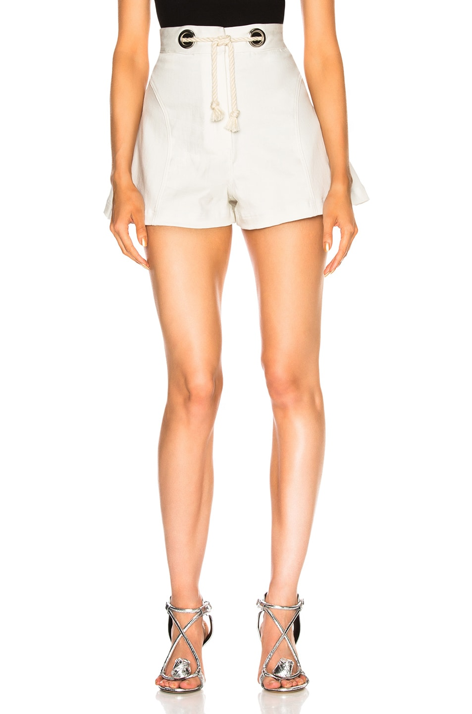 Image 1 of Miaou Greta Short with Rope Belt in White
