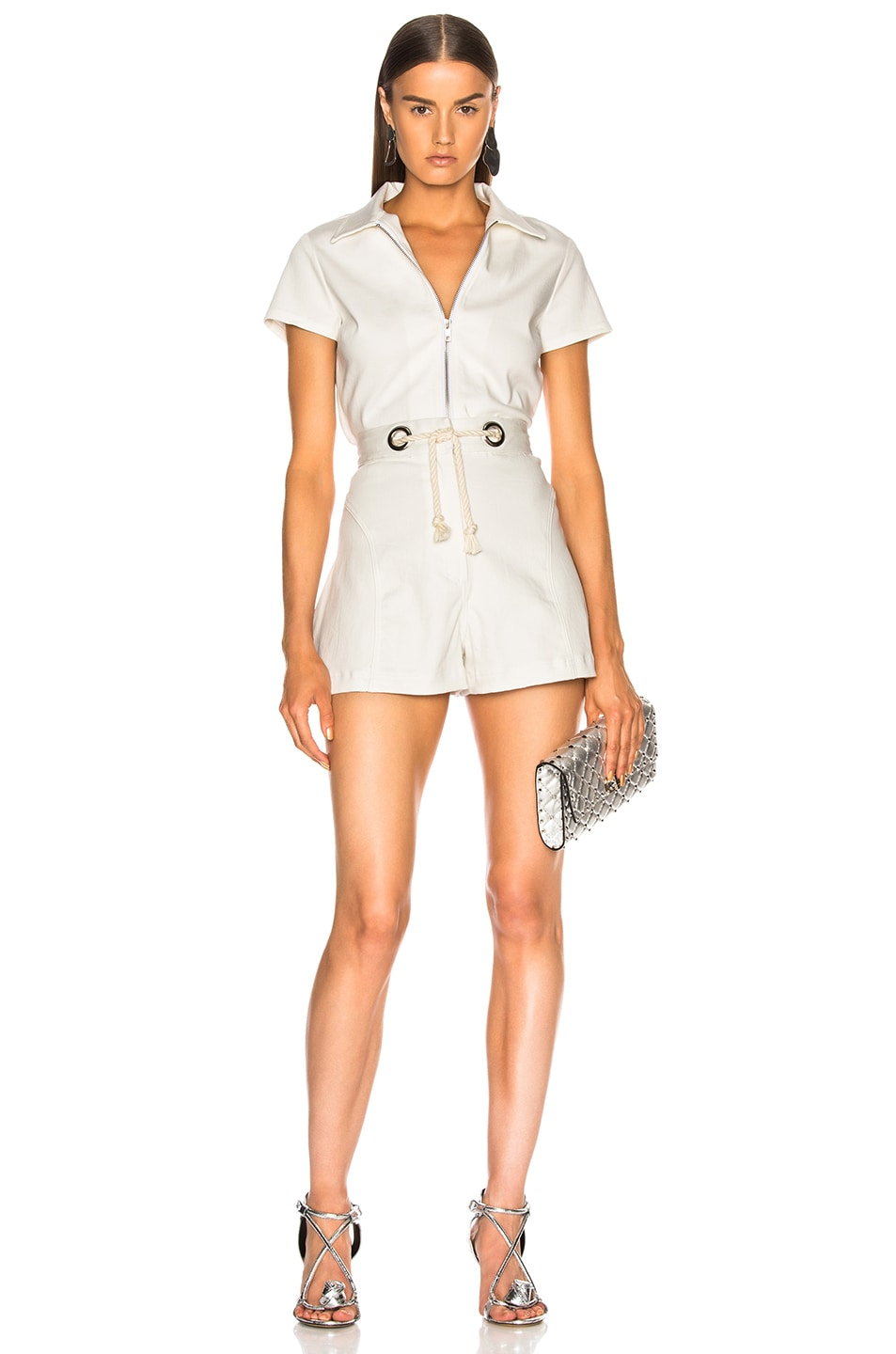 Image 4 of Miaou Greta Short with Rope Belt in White