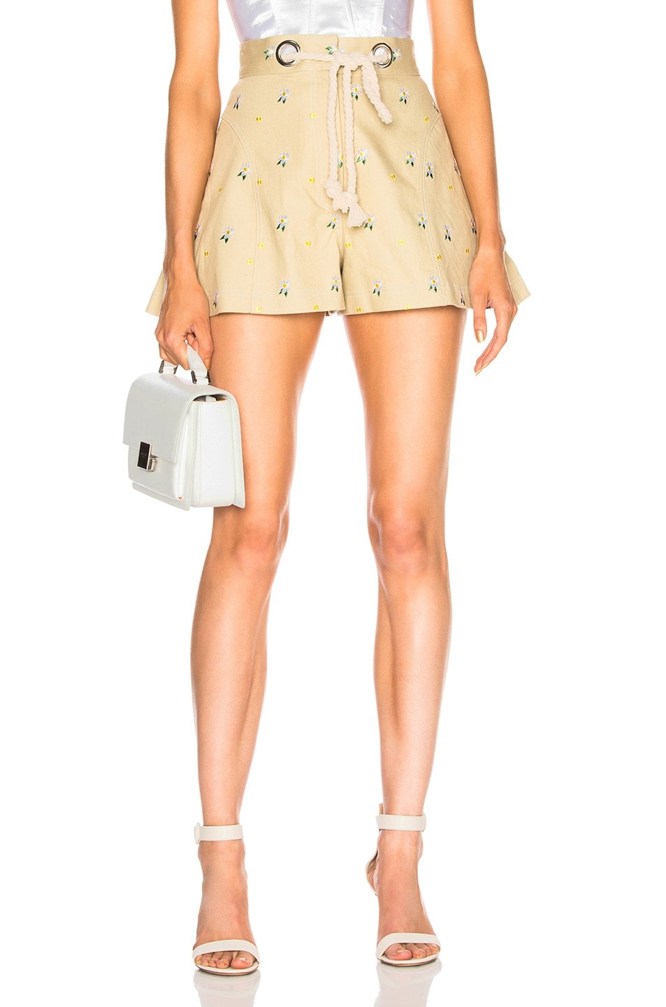 Image 1 of Miaou Greta Short with Rope Belt in Khaki Embroidery
