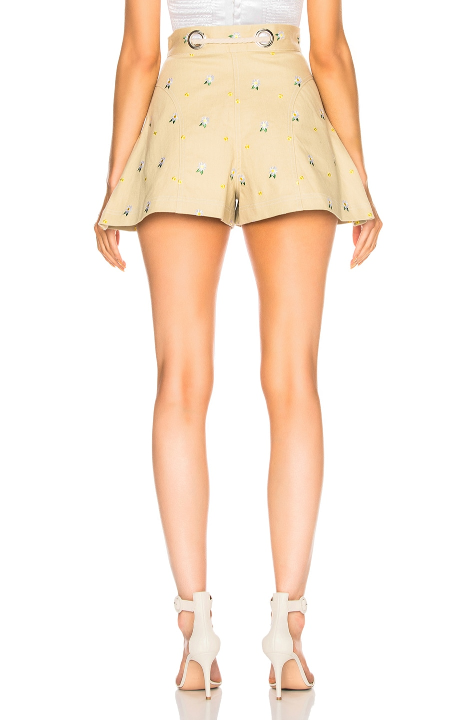 Image 3 of Miaou Greta Short with Rope Belt in Khaki Embroidery