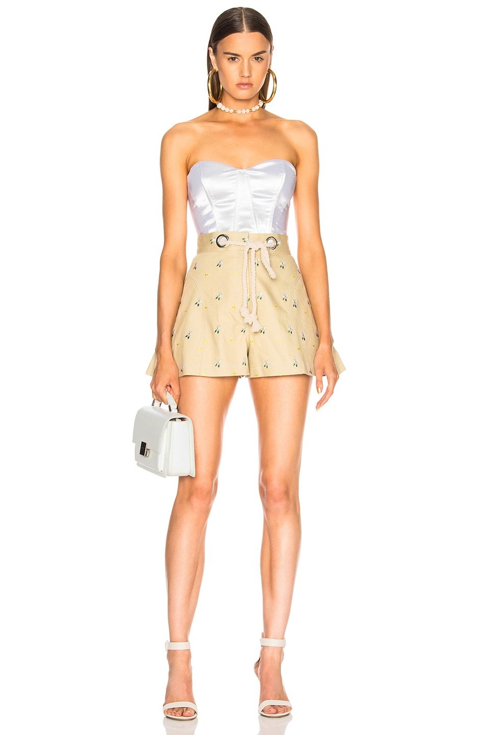 Image 4 of Miaou Greta Short with Rope Belt in Khaki Embroidery