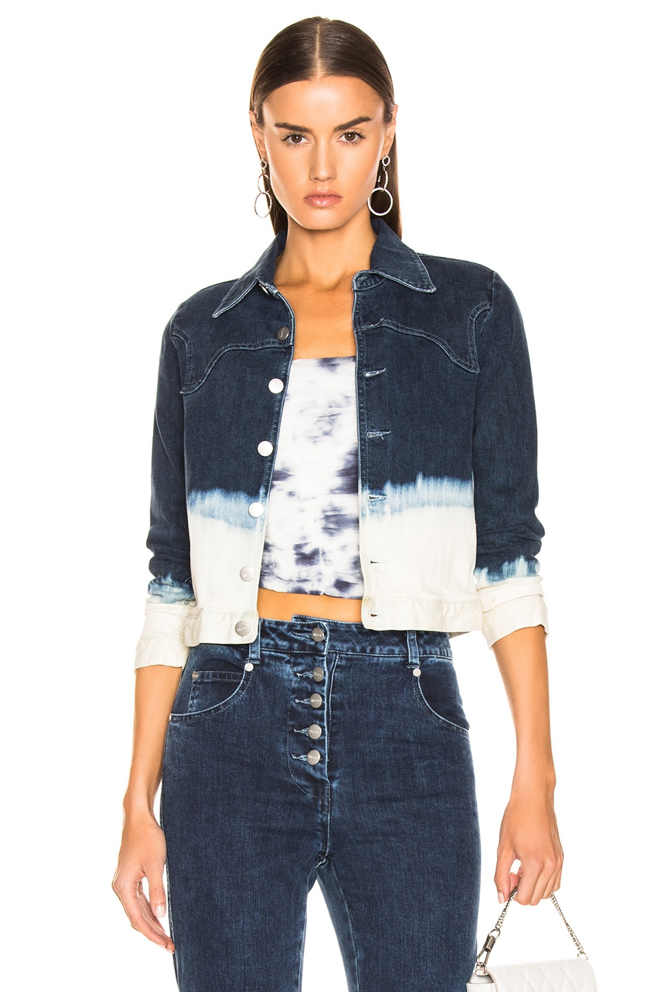 Image 1 of Miaou Lex Jacket in Indigo & White Dip Dye