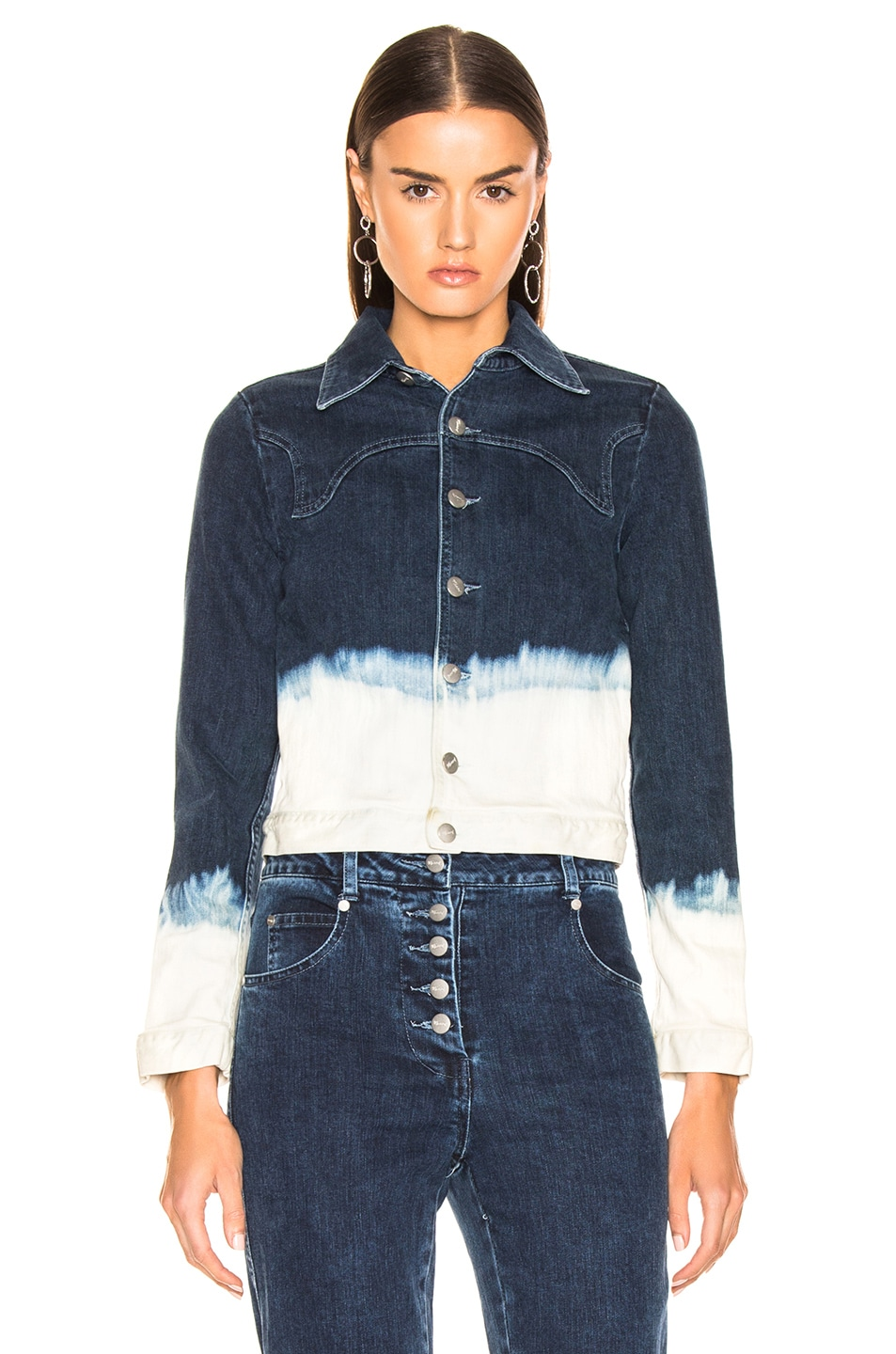 Image 2 of Miaou Lex Jacket in Indigo & White Dip Dye