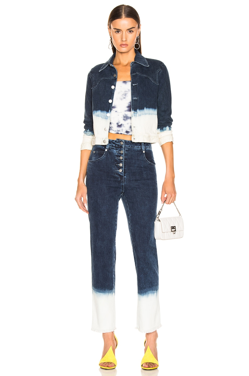 Image 5 of Miaou Lex Jacket in Indigo & White Dip Dye