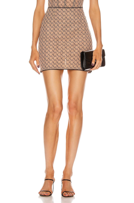 Image 1 of Miaou Moni Mini Skirt in Nude Monogram