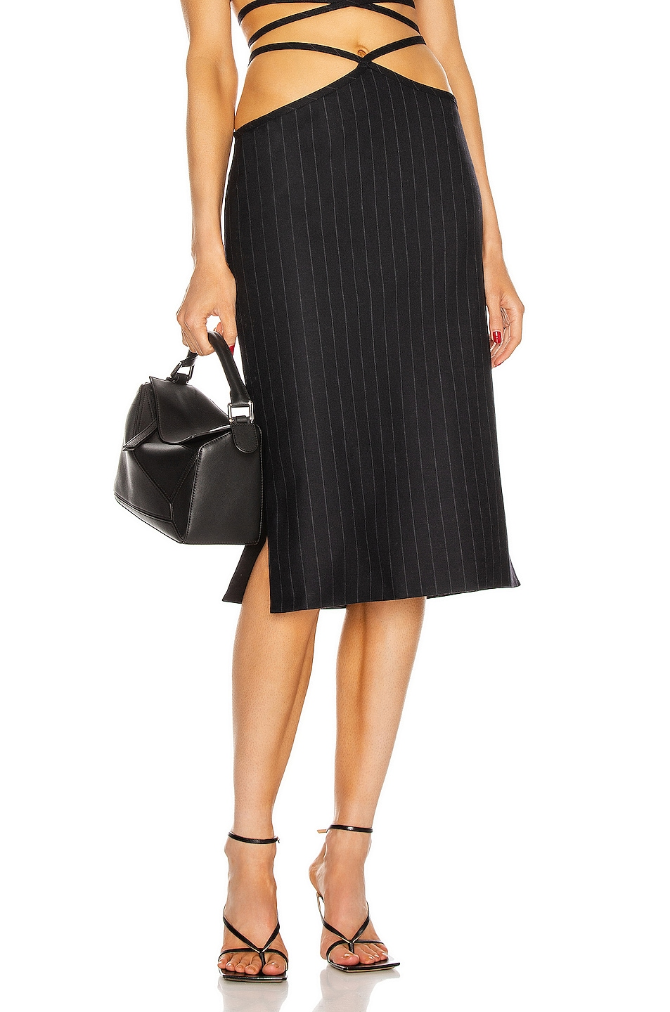Image 1 of Miaou Nadine Skirt in Navy Pinstripe