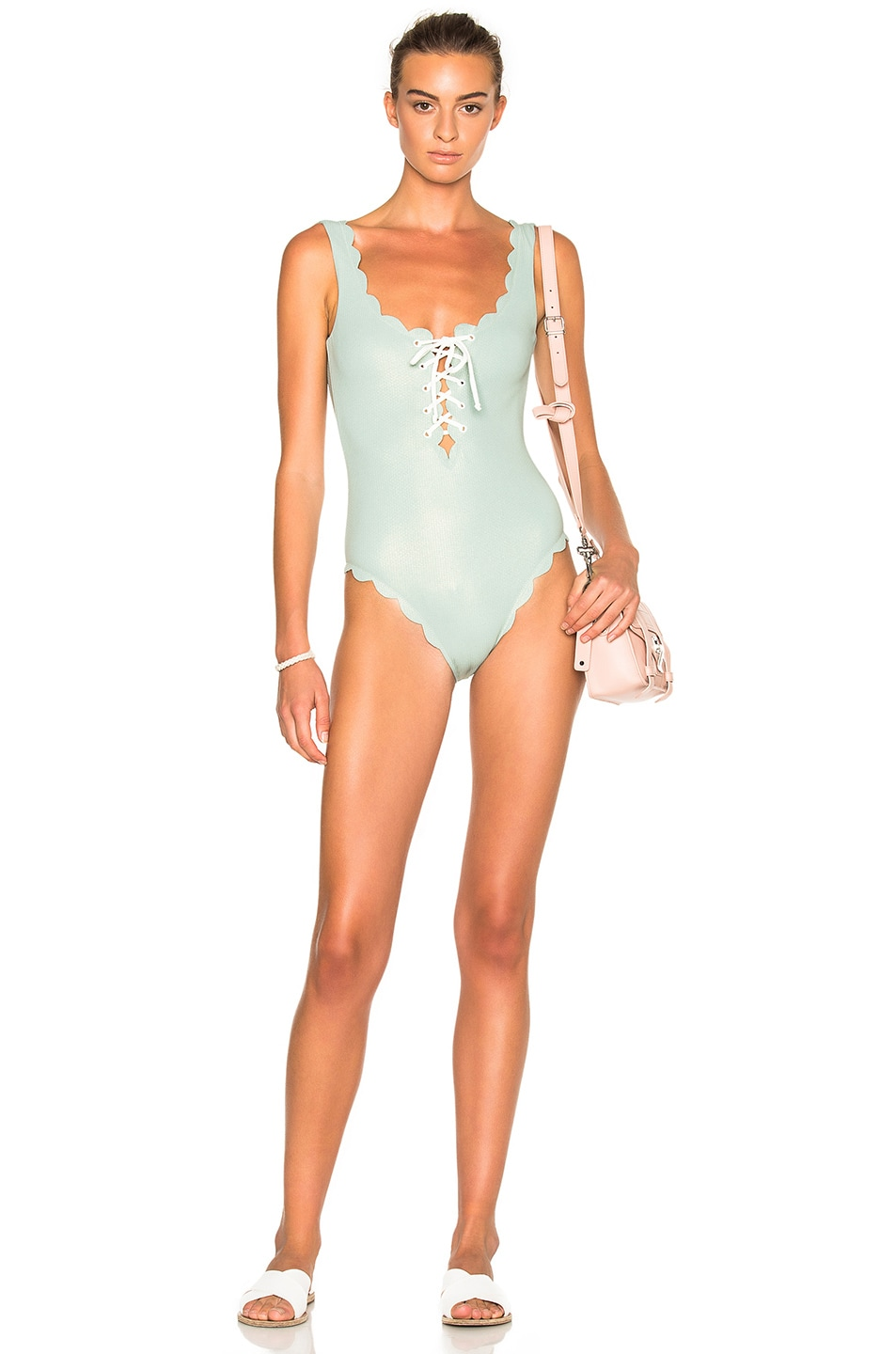38dc2ef961fa5 Image 1 of Marysia Swim FWRD Exclusive Palm Springs Lace Up Swimsuit in  Pale Blue