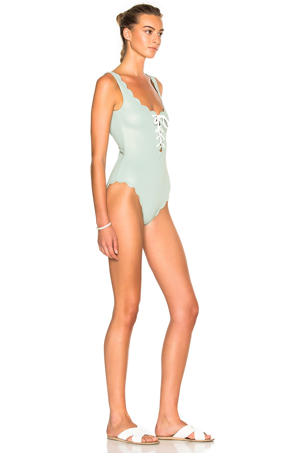 15791cd0485 Image 3 of Marysia Swim FWRD Exclusive Palm Springs Lace Up Swimsuit in  Pale Blue