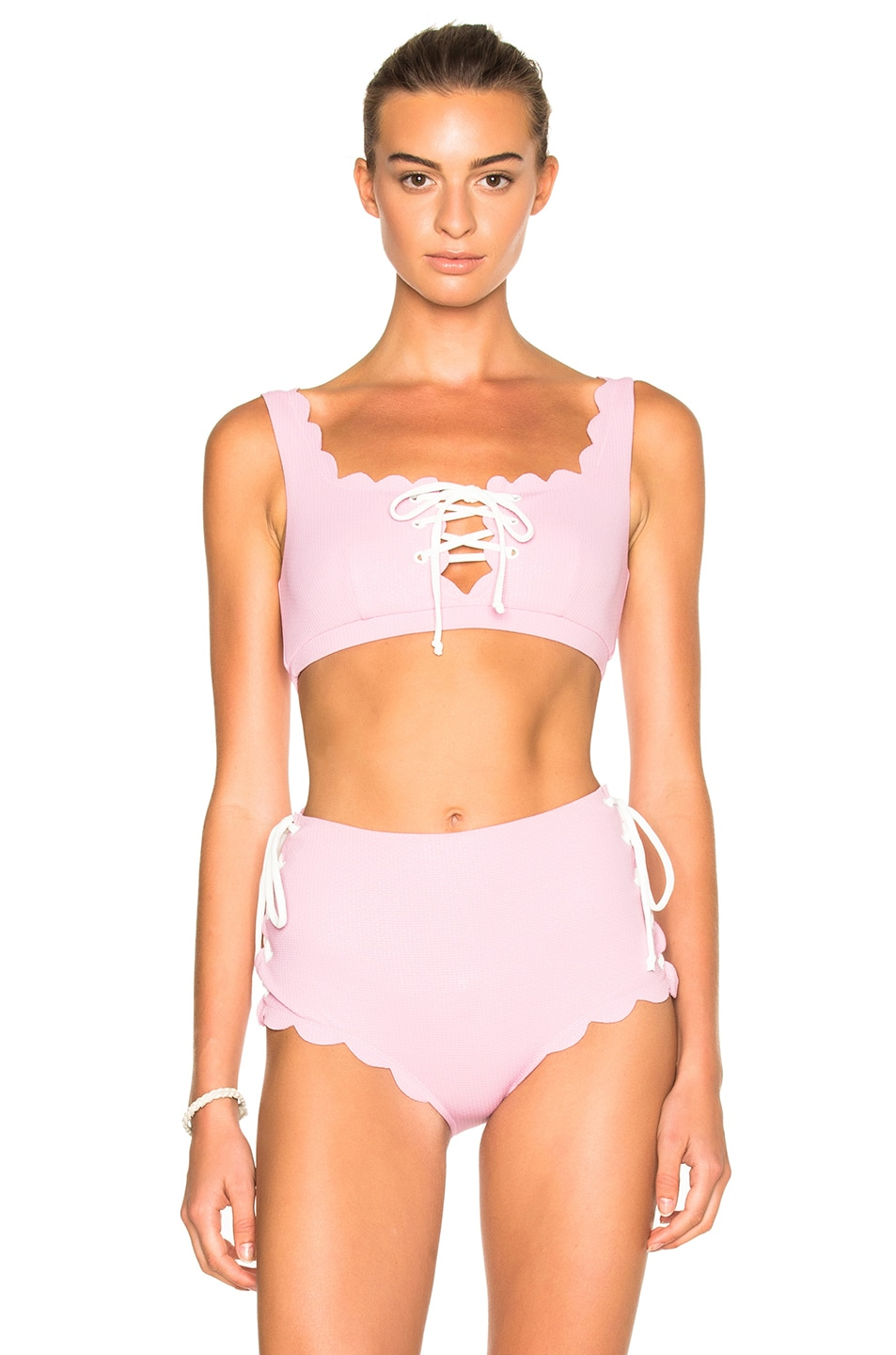 Image 1 of Marysia Swim FWRD Exclusive Palm Springs Lace Up Bikini Top in Pale Pink