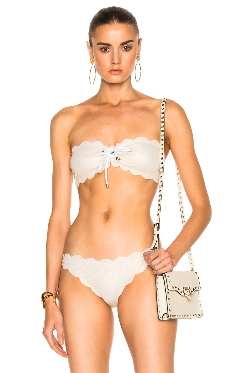 MARYSIA SWIM ANTIBES BIKINI TIE TOP IN METALLIC CREAM